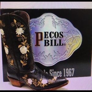 Pecos Bill Woman Embroidery Cowboy Boots Size-10